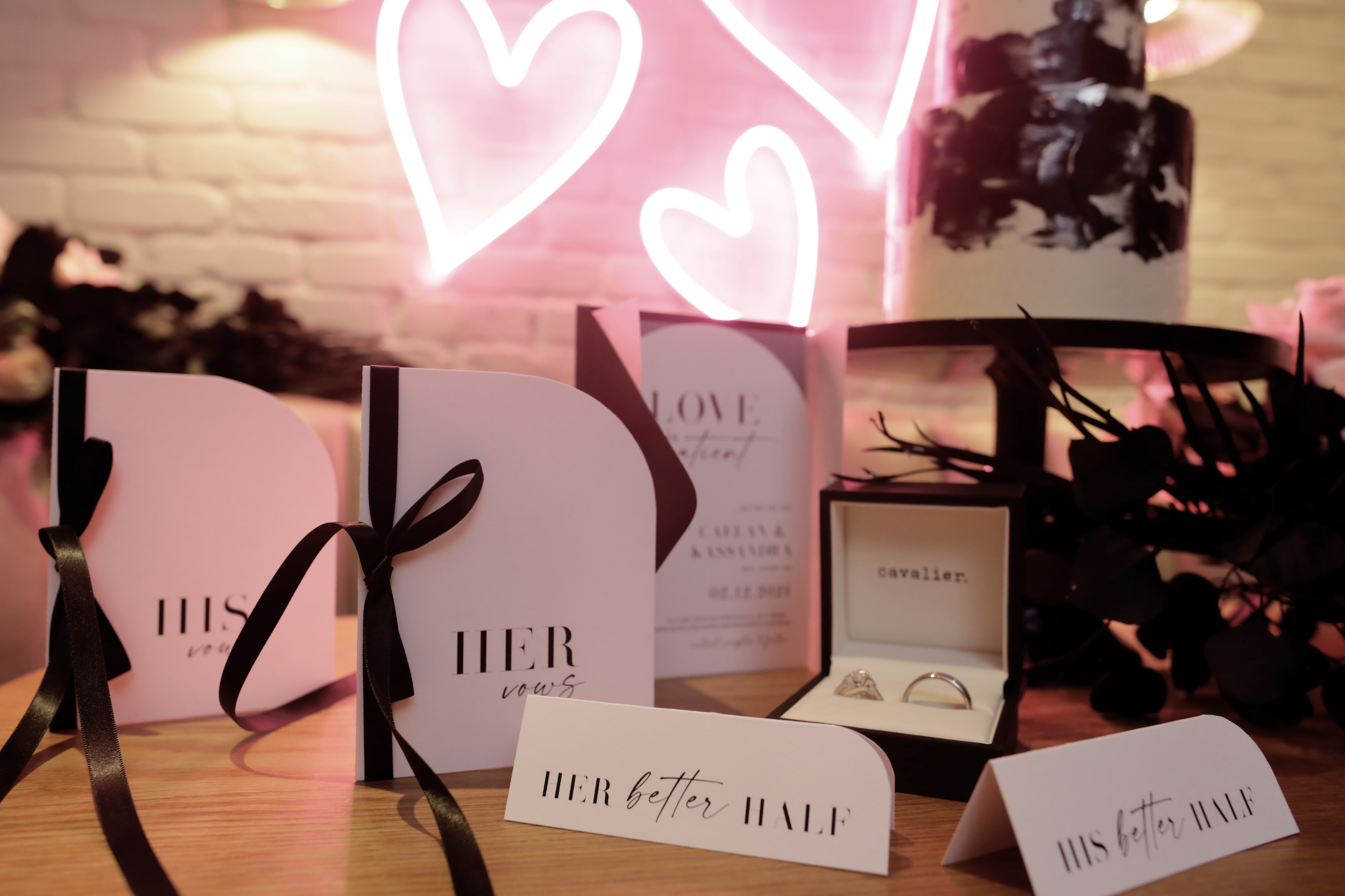 Wedding invitations, rings and cake   LC Media Corp